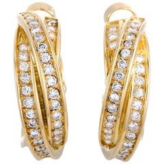 Cartier Trinity Diamond Pave Crisscross Yellow Gold Huggie Omega Back Earrings