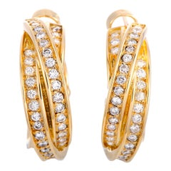 Cartier Trinity Diamond Pave Crisscross Yellow Gold Huggie Omega Back Earrings