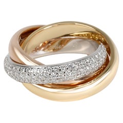 Cartier Trinity Diamond Ring 'Classic' in 18 Karat Tri Colored Gold 0.99 Carat