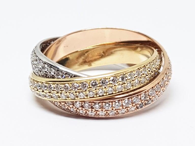 Cartier Trinity Diamond Ring Yellow White Rose Gold 2 32 Carat At 1stdibs