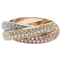Cartier Trinity Diamond Ring Yellow White Rose Gold 2.32 Carat