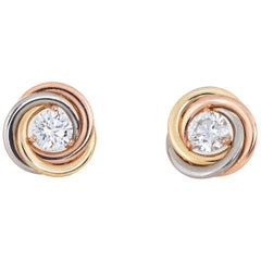 Cartier Trinity Diamond Stud Earrings 18K Tri Gold Estate Fine Jewelry Signed