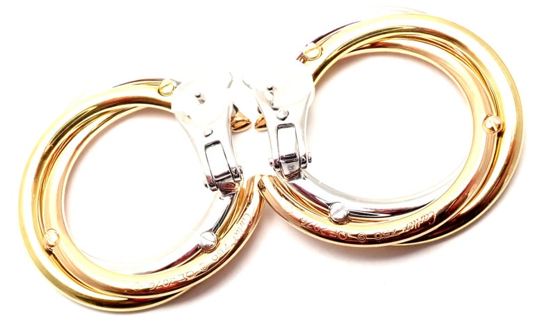 Cartier Trinity Diamond Tri-Color Gold Hoop Earrings For Sale 6