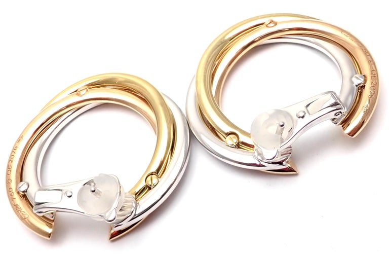Cartier Trinity Diamond Tri-Color Gold Hoop Earrings For Sale 7