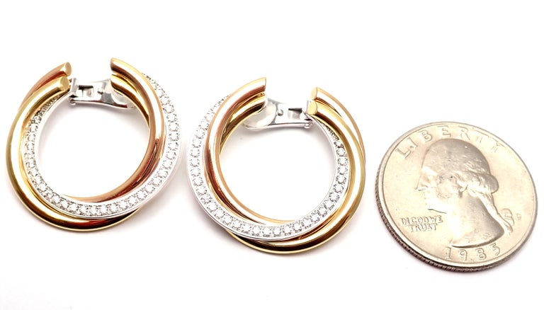 Cartier Trinity Diamond Tri-Color Gold Hoop Earrings For Sale 8