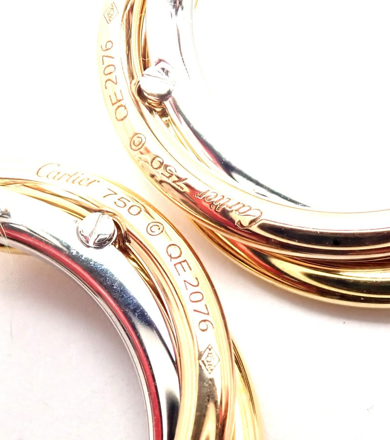 Cartier Trinity Diamond Tri-Color Gold Hoop Earrings In Excellent Condition For Sale In Holland, PA
