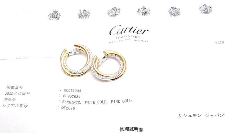 Women's or Men's Cartier Trinity Diamond Tri-Color Gold Hoop Earrings For Sale