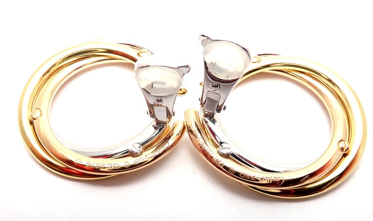 Cartier Trinity Diamond Tri-Color Gold Hoop Earrings For Sale 1