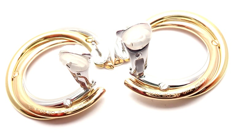 Cartier Trinity Diamond Tri-Color Gold Hoop Earrings For Sale 2