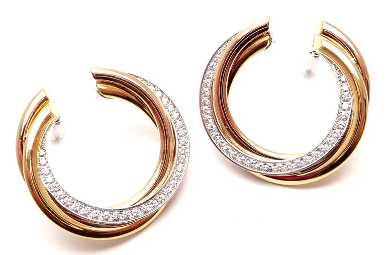 Cartier Trinity Diamond Tri-Color Gold Hoop Earrings For Sale 3