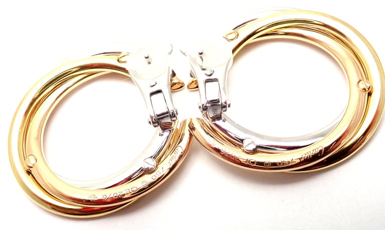 Cartier Trinity Diamond Tri-Color Gold Hoop Earrings For Sale 4