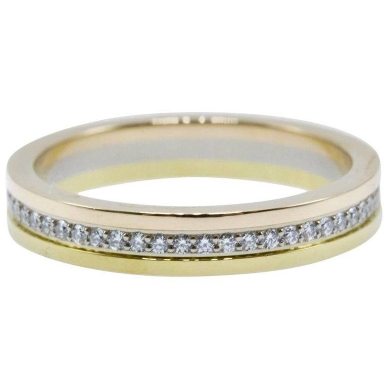 Cartier Trinity Diamond Wedding Band Ring In 18 Karat Yellow And