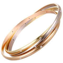 Cartier Trinity Diamond White Yellow and Rose Gold Rolling Bangle Bracelet