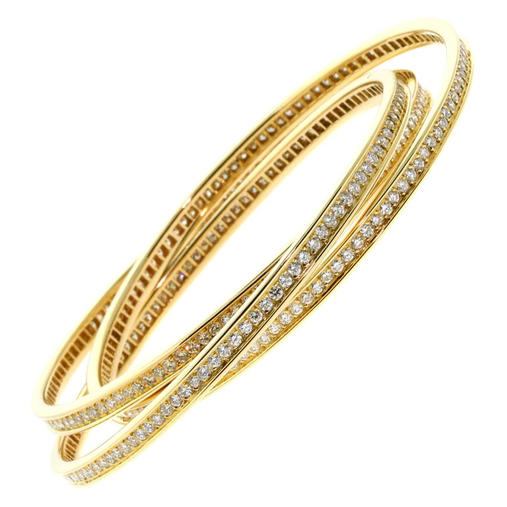 Cartier Trinity Diamond Yellow Gold Bracelet
