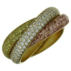 Cartier Trinity Fancy Natural 3 Color Diamond Yellow Gold Ring