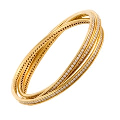 Cartier Trinity Full Diamond Pavé 18 Karat Yellow Gold Rolling Bangle Bracelet