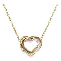 Cartier Trinity Heart Diamond 18k Yellow White Rose Gold Pendant Necklace