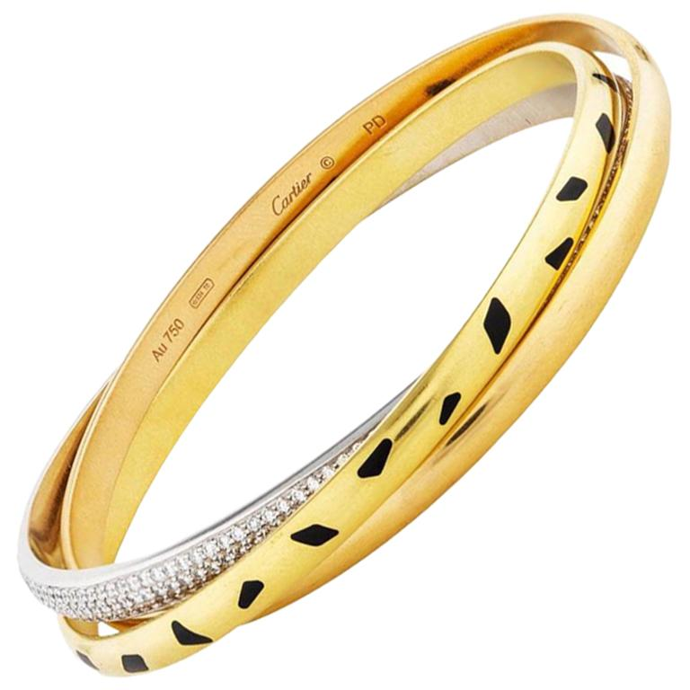 Cartier Trinity Panthere 18 Karat Yellow Gold Diamond Slip On Bangle For Sale At 1stdibs