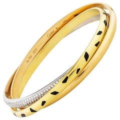 Cartier Trinity Panthere 18 Karat Yellow Gold Diamond Slip on Bangle