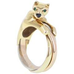 Cartier Trinity Panthere Panther Ring 18k Tricolor Gold, Emerald and Onyx Ring