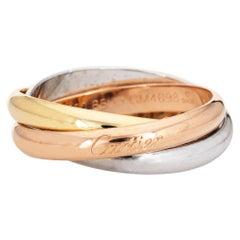 Cartier Trinity Ring Classic 18 Karat Tri Gold Estate Signed Men's Band