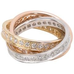 Cartier Trinity Ring in 18 Karat 3-Tone Gold 1.55 Carat