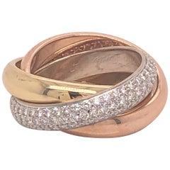 Cartier Trinity Ring with Pave Diamonds
