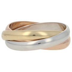 Cartier Trinity Ring Yellow, White, and Rose Gold, 18 Karat Rolling Band