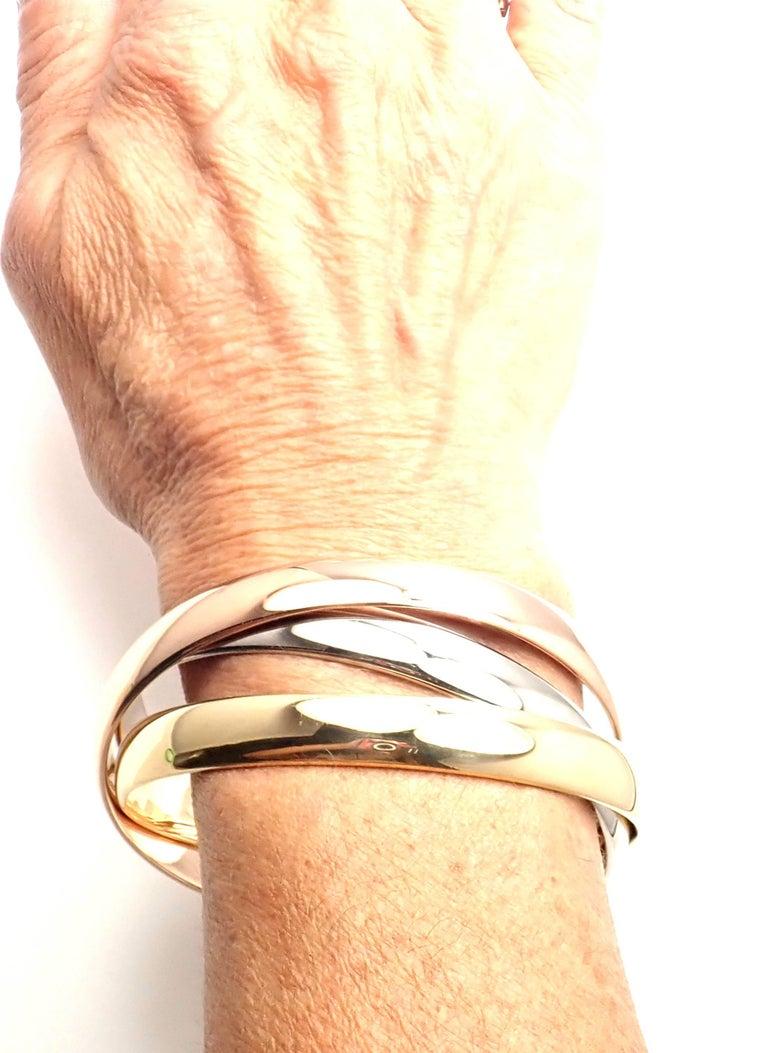 Cartier Trinity Rolling Large Model Tricolor Gold Bangle Bracelet For Sale 3