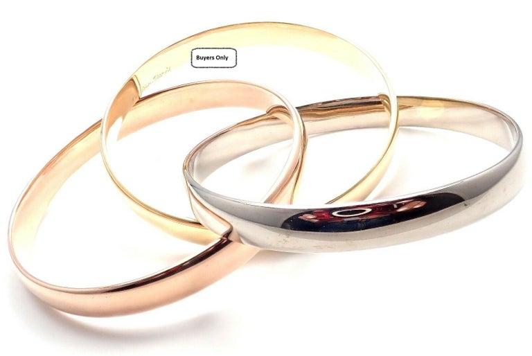 Cartier Trinity Rolling Large Model Tricolor Gold Bangle Bracelet For Sale 8