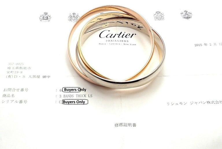 Cartier Trinity Rolling Large Model Tricolor Gold Bangle Bracelet For Sale 2