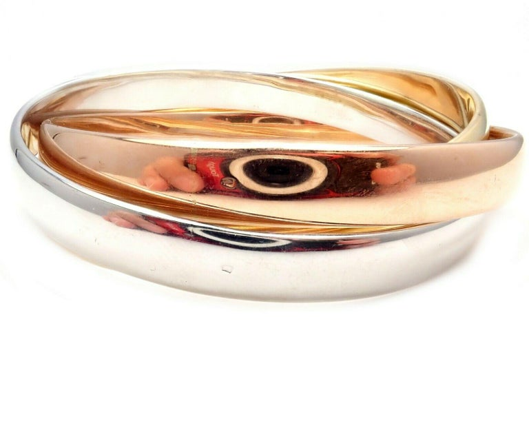 Cartier Trinity Rolling Large Model Tricolor Gold Bangle Bracelet In Excellent Condition For Sale In Holland, PA