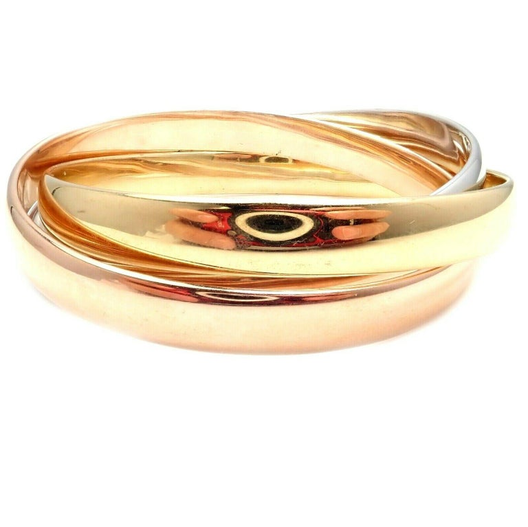 Cartier Trinity Rolling Large Model Tricolor Gold Bangle Bracelet For Sale 2
