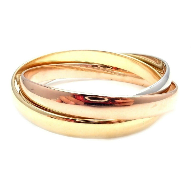 Cartier Trinity Rolling Large Model Tricolor Gold Bangle Bracelet For Sale 3