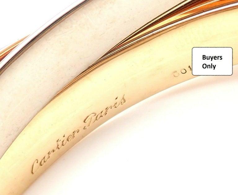 Cartier Trinity Rolling Large Model Tricolor Gold Bangle Bracelet For Sale 4