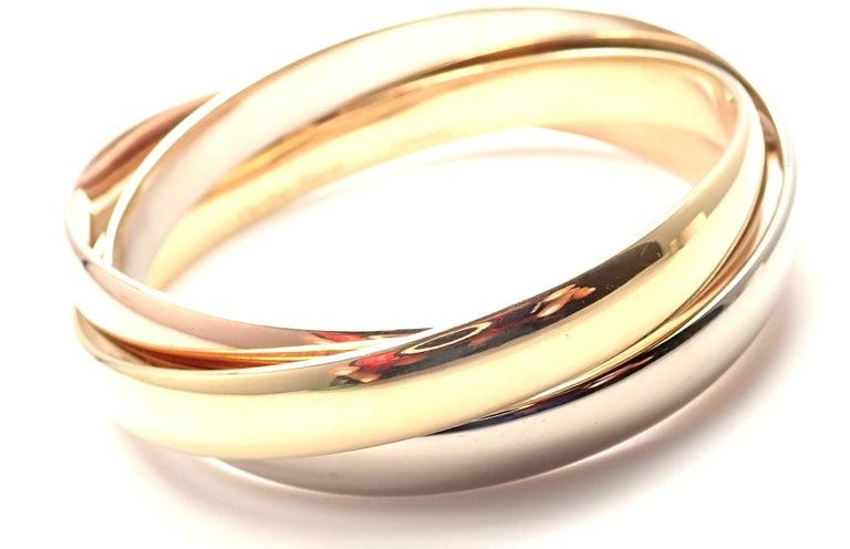 Women's Cartier Trinity Rolling Large Model Tricolor Gold Bangle Bracelet For Sale