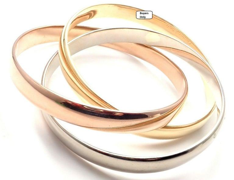 Cartier Trinity Rolling Large Model Tricolor Gold Bangle Bracelet For Sale 5