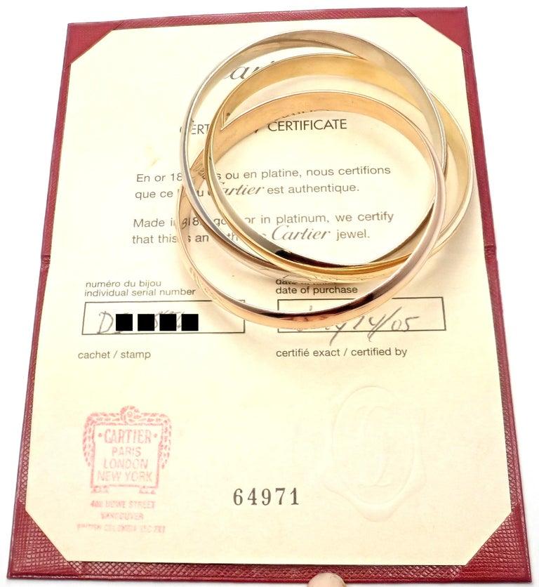 Cartier Trinity Rolling Large Model Tricolor Gold Medium Size Bangle Bracelet For Sale 1