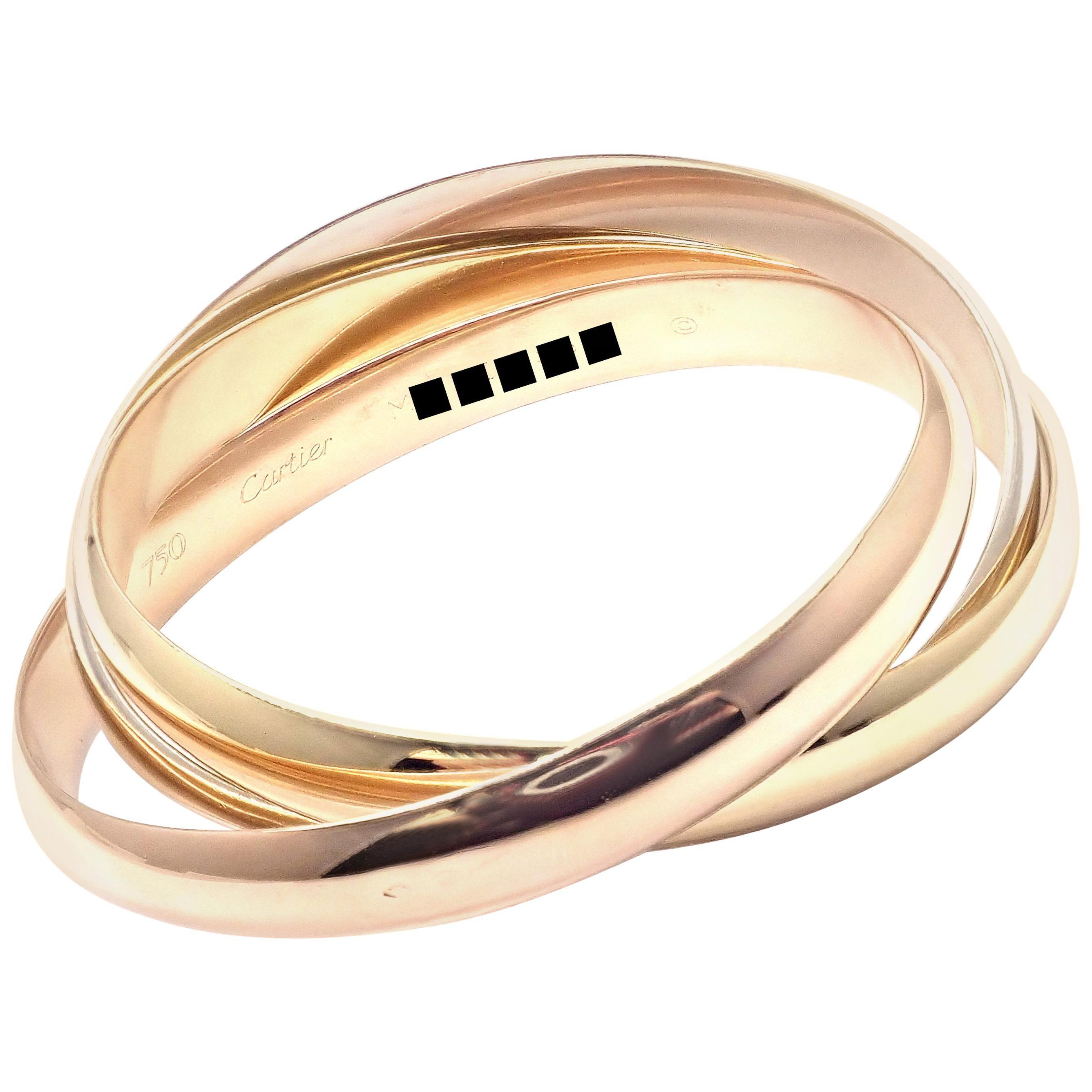 Cartier Trinity Rolling Large Model Tricolor Gold Medium Size Bangle Bracelet