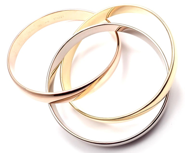 Cartier Trinity Rolling Large Model Tricolor Gold Small Size Bangle Bracelet In Excellent Condition For Sale In Holland, PA