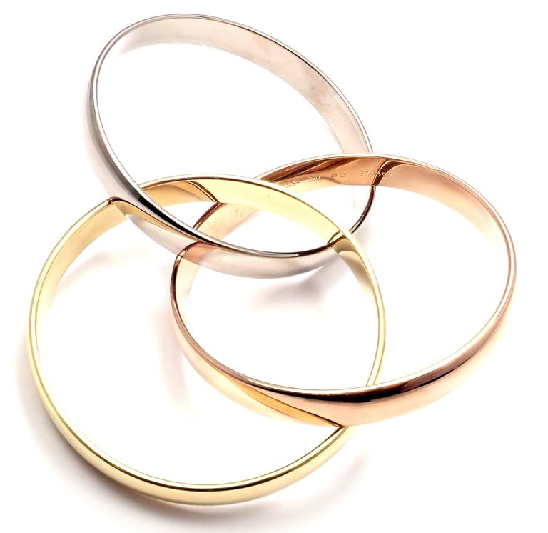 Cartier Trinity Rolling Large Model Tricolor Gold Small Size Bangle Bracelet For Sale 2