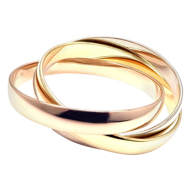 Cartier Trinity Rolling Large Model Tricolor Gold Small Size Bangle Bracelet For Sale