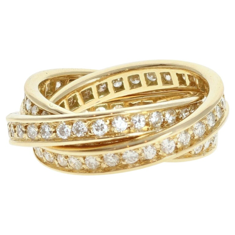 Cartier Trinity Rolling Ring 18k Yellow Gold & Diamond 9.7g For Sale