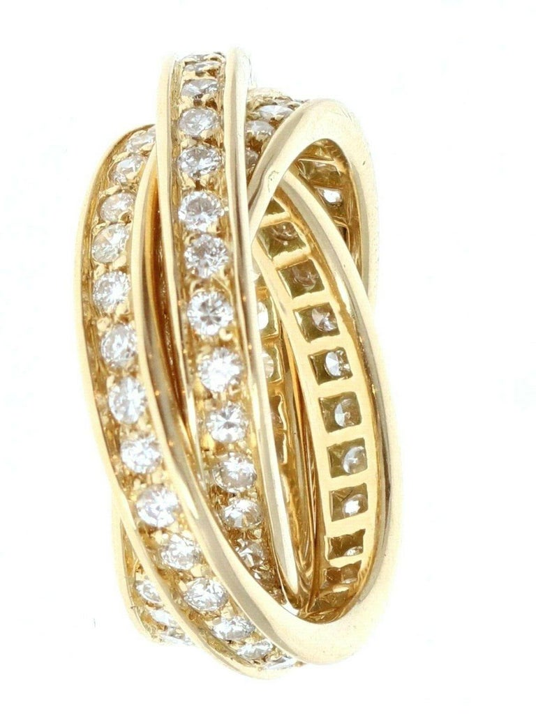 Round Cut Cartier Trinity Rolling Ring 18k Yellow Gold & Diamond 9.7g For Sale