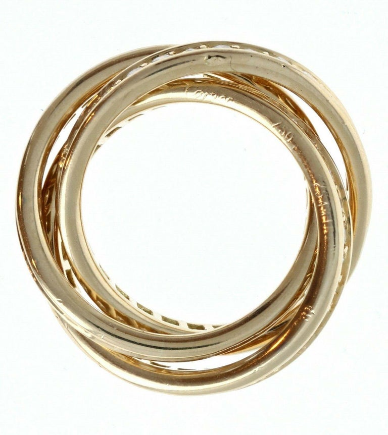 Cartier Trinity Rolling Ring 18k Yellow Gold & Diamond 9.7g In Good Condition For Sale In Beverly Hills, CA