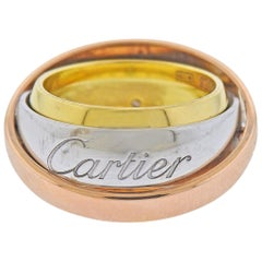 Cartier Trinity Rose White Yellow Gold Rolling Band Ring Pendant
