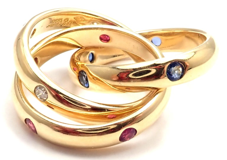Brilliant Cut Cartier Trinity Ruby Sapphire Diamond Yellow Gold Band Ring For Sale