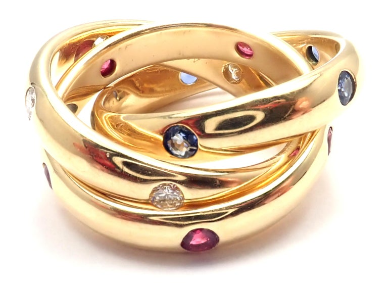 Cartier Trinity Ruby Sapphire Diamond Yellow Gold Band Ring In Excellent Condition For Sale In Holland, PA