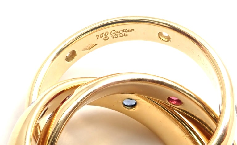 Cartier Trinity Ruby Sapphire Diamond Yellow Gold Band Ring For Sale 1