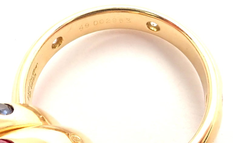 Cartier Trinity Ruby Sapphire Diamond Yellow Gold Band Ring For Sale 2
